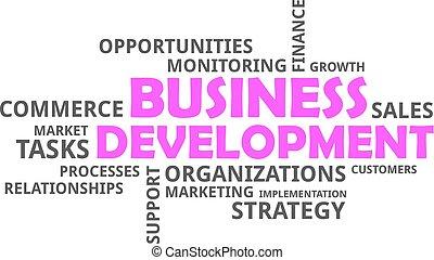 sviluppo, parola, -, nuvola, affari