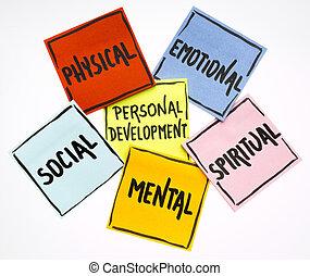 sviluppo, personale, note, concetto, appiccicoso