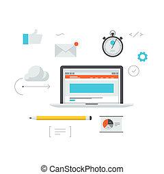sviluppo, web, illustrazione, workflow