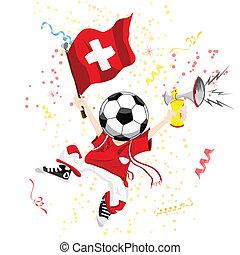 svizzera, head., palla calcio, ventilatore