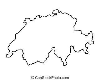 svizzera, mappa, astratto, nero