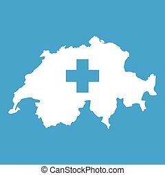 svizzera, mappa, bianco, icona
