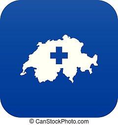 svizzera, mappa, blu, icona, digitale