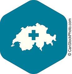 svizzera, mappa, icona, stile, semplice
