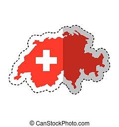 svizzera, mappa, isolato, icona