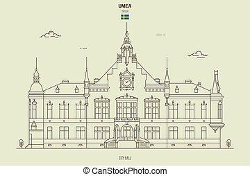 sweden., punto di riferimento, umea, municipio, icona