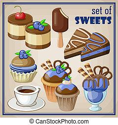 sweets., vettore, set, illustrazione
