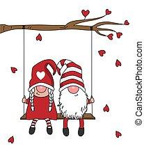 swing., amore, seduta, card., coppia, gnomi, gnomo
