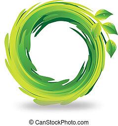 swirly, logotipo, mette foglie