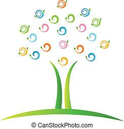 swirly, logotipo, vettore, albero, mette foglie