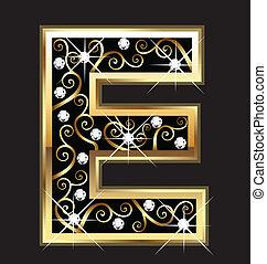 swirly, ornamenti, e, oro, lettera