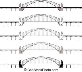 sydney, soltanto, ponte, contorno, colorato, porto