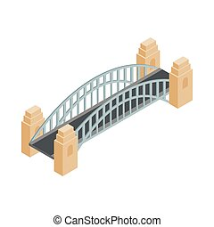 sydney, stile, icona, 3d, isometrico, ponte, porto