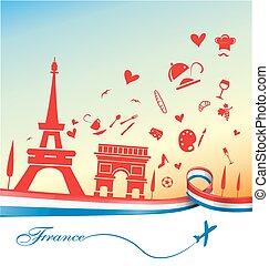 sym, francia, fondo, vacanza