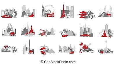 symbolizing, miniature, set, paese