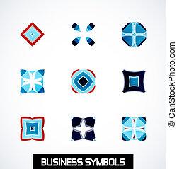 symbols., affari, astratto, set, geometrico, icona