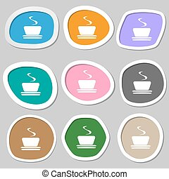 symbols., caffè, tè, variopinto, carta, vettore, stickers.