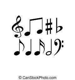 symbols., fondo., nero, set, fondamentale, musicale, illustration., vettore, note, musica, bianco, signs.