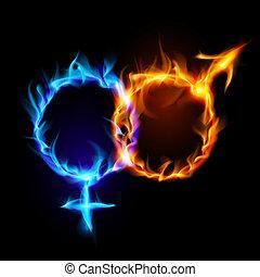 symbols., marte, venere, fuoco