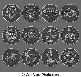 symbols., oroscopo, set, astrologico, segni, zodiaco