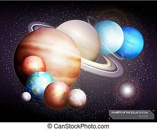 system., vettore, solare, illustrazione, pianeti