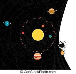 system., vettore, solare, pianeti, illustration.