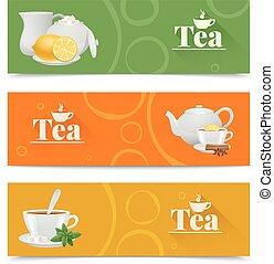 tè, bandiere, set