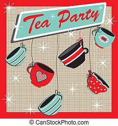 tè, retro, festa, invito