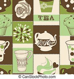 tè, retro, modello, seamless, cupcake