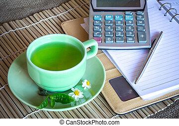 tè, scrivania, tazza, spazio
