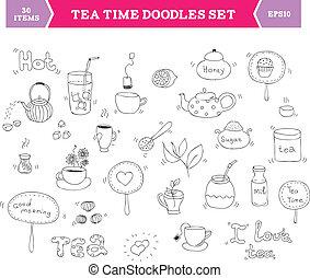 tè, vettore, elementi, scarabocchiare