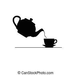 tè, vettore, silhouette, icona