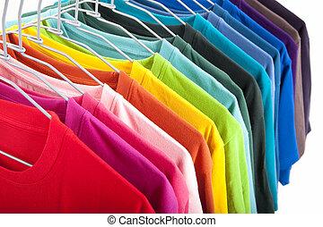 t-shirt, sfondo bianco, isolato, colorito