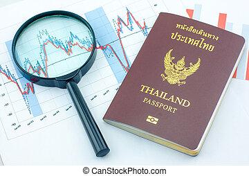 tabelle, grafici, sales., grafici, analisi, magnificatore, tailandia, passport.