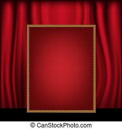 tabellone, tenda, sfondo rosso, vuoto