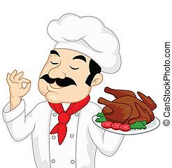 tacchino, chef, pollo, o, arrostito
