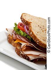 tacchino, intero, panino, grano, bread