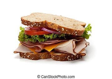 tacchino, panino, whole-grain, bread