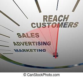 tachimetro, clienti, portata, vendite, marketing, pubblicità