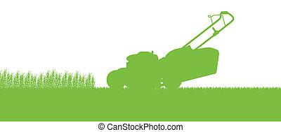 tagliaerba, astratto, illustrazione, campo, taglio, trattore, fondo, erba, paesaggio