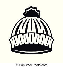 taglialegna, oggetto, lavorato maglia, vettore, cappello nero