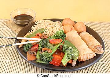 tagliatelle, verdura, asiatico