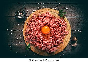tagliato, legno, carne, rosso, fondo.