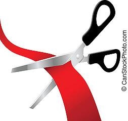 taglio, apertura, rosso, grande, forbici, nastro