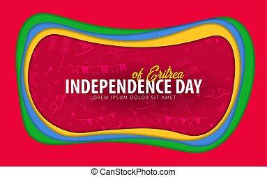 taglio, card., augurio, giorno, carta, eritrea., style., indipendenza