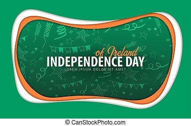 taglio, card., augurio, giorno, carta, ireland., style., indipendenza