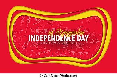 taglio, card., augurio, giorno, carta, kyrgyzstan., style., indipendenza