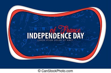 taglio, card., augurio, giorno, france., carta, style., indipendenza
