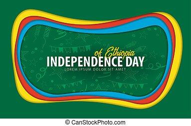 taglio, card., ethiopia., augurio, giorno, carta, style., indipendenza