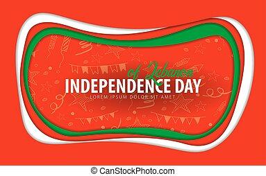 taglio, card., lebanon., augurio, giorno, carta, style., indipendenza